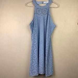 Candie's Lace Dress Blue High Neck XL